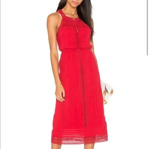 Joie Dance Midi Dress in Brick Red